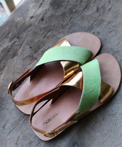 Pistashio Green Mirrored Gold Slides Sandals