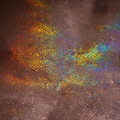 Iridescent Snake Print Leather