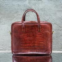 Laptop Bag Brown Crocodile Embossed Leather