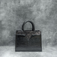 SST Madam Patent Black Crocodile Embossed Leather Metallic Calf Skin Insert