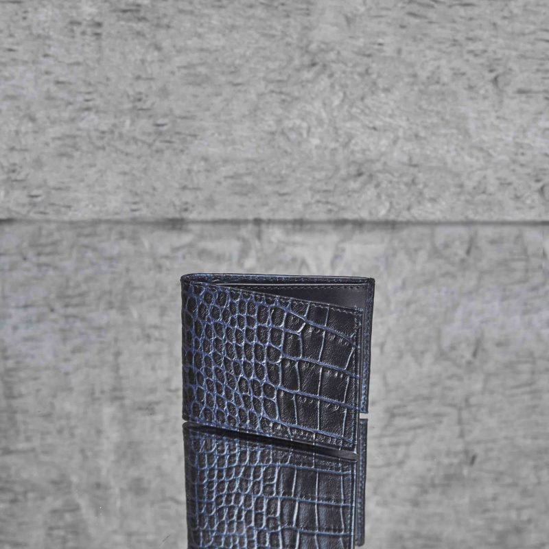Men's Wallet Twary Brown Crocodile Embossed Leather