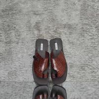 Thong Sandal Walnut Brown Crocodile Embossed Leather