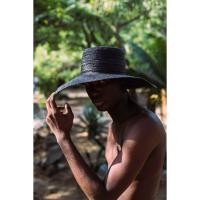 Handwoven Raffia Sun Hat Charcoal Black