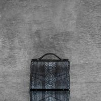 TKO Madam Distressed Smoky Black Steel Grey Effect Python Snake Embossed leather