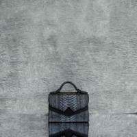 TKO Mini Distressed Smoky Black Steel Grey Effect Python Snake Embossed leather