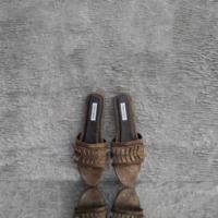 Pleated Slides Distressed Metallic Cedar Brown Goat Skin (40)