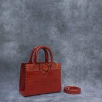 SST Classic Burnt Orange Crocodile Snake Embossed Leather