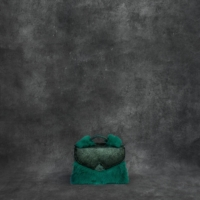 TKO Mini Distressed Iridescent Green Calf Skin Ostrich Embossed Leather With Rabbit Fur
