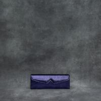 Box Clutch Elongated Distressed Metallic Royal Purple Calf Skin