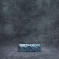 Box Clutch Elongated Distressed Metallic Steel Blue Calf Skin