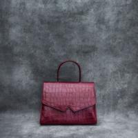 Alpha Madam Burgundy Crocodile Embossed Leather