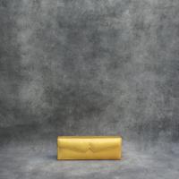 Box Clutch Elongated metallic Yellow Gold calf Skin