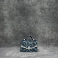 TKO Mini Blue Leopard Print Calf Hide Silver Snake Embossed Leather Insert