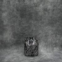 Mini Bucket Bag Metallic Distressed Dark Silver Goat Skin