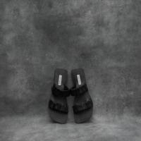 Ruched Slides Black Goat Skin (40)