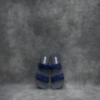 Ruched Slides Navy Blue Goat Skin (40)