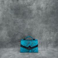 TKO Mini Blue Python Snake Embossed leather Black Calf Hide Insert