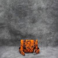 Waist Belt Bag Orange Black Calf Hide