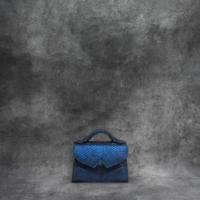 TKO Mini Distressed Metallic Sapphire Blue Python Snake Embossed Leather Calf Skin Insert