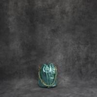 Mini Bucket Bag Metallic Agua Green Calf Skin