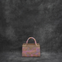SST Mini Pink Gold Crocodile Embossed Leather Iridescent Calf Skin Insert