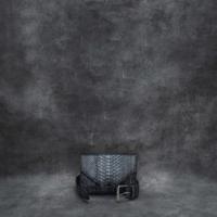 Waist Belt Bag Metallic Gunmetal Steel Grey Effect Snake Embossed Leather