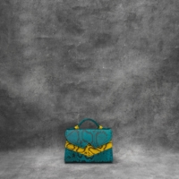 TKO Mini Teal Blue Yellow Snake Embossed Leather